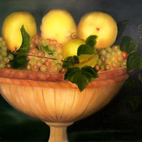 (CreativeWork) Quinces and Grapes by Pamela Guard. Oil. Shop online at Bluethumb.