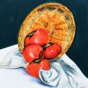 (CreativeWork) Persimmons by Denise Anzellotti. oil-painting. Shop online at Bluethumb.