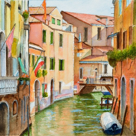 (CreativeWork) Chiesa San Martino, Venezia by Dai Wynn. Watercolour Paint. Shop online at Bluethumb.