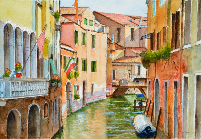 (CreativeWork) Chiesa San Martino, Venezia by Dai Wynn. watercolour. Shop online at Bluethumb.