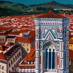 (CreativeWork) Giotto's Bell Tower Florence Italy.  Commissioned Artwork by Helen Pynta. acrylic-painting. Shop online at Bluethumb.