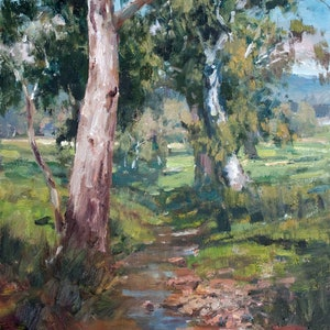 (CreativeWork) Gums at Stoney Creek, Quorn SA by Robert Todonai. oil-painting. Shop online at Bluethumb.