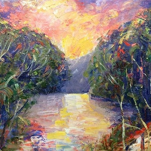 (CreativeWork) Beewong creek on dusk by Rebecca Brennan. oil-painting. Shop online at Bluethumb.