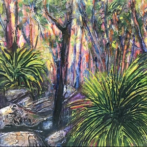 (CreativeWork) Grass trees st dusk  by Rebecca Brennan. oil-painting. Shop online at Bluethumb.