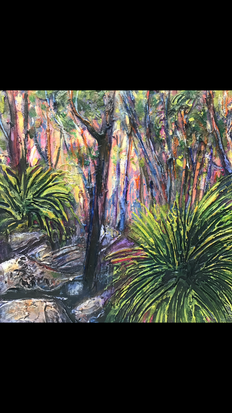 (CreativeWork) Grass trees st dusk  by Rebecca Brennan. Oil Paint. Shop online at Bluethumb.