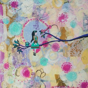 (CreativeWork) High Up In The Treetops by shae leviston. mixed-media. Shop online at Bluethumb.