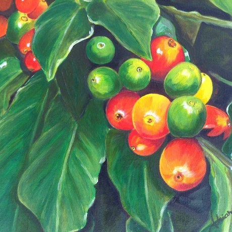(CreativeWork) Coffee branch by Adriana Nascimento. Acrylic Paint. Shop online at Bluethumb.