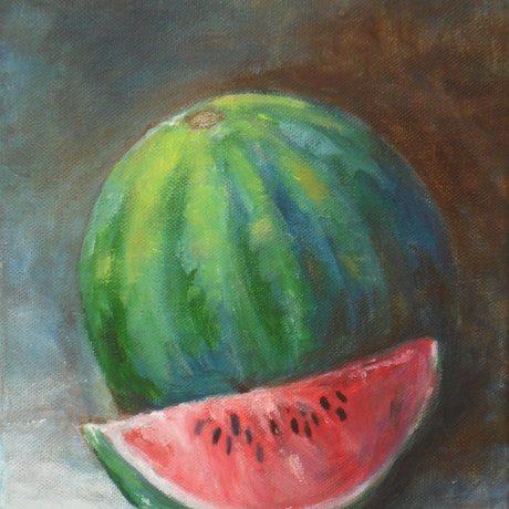 (CreativeWork) WATERMELON by Hesh Fernando. Oil Paint. Shop online at Bluethumb.