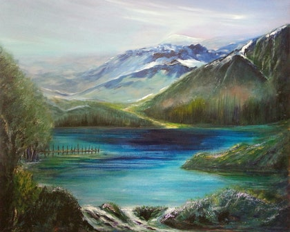 (CreativeWork) NZ, Queenstown,  a compilation by Roger Reading. arcylic-painting. Shop online at Bluethumb.