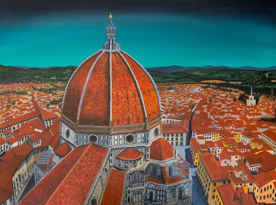 (CreativeWork) Il Duomo di Firenze ~ Florence Cathedral: Commissioned Artwork by Helen Pynta. Acrylic Paint. Shop online at Bluethumb.