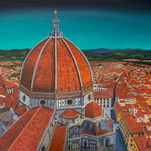 (CreativeWork) Il Duomo di Firenze ~ Florence Cathedral: Commissioned Artwork by Helen Pynta. arcylic-painting. Shop online at Bluethumb.