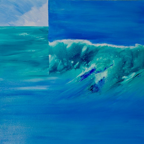 (CreativeWork)  Ocean-Catch a wave by Laurie Jean Cochrane. Mixed Media. Shop online at Bluethumb.