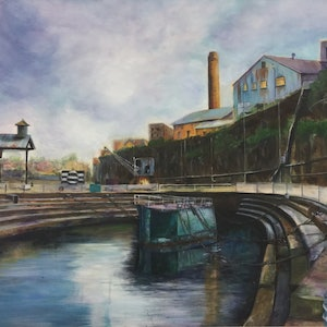 (CreativeWork) Cockatoo Island  by Betty Chan. arcylic-painting. Shop online at Bluethumb.