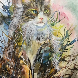 (CreativeWork) Wilderness Cat by Betty Chan. mixed-media. Shop online at Bluethumb.