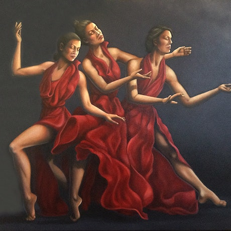 (CreativeWork) The Three Graces by Barbara Harkness. Oil Paint. Shop online at Bluethumb.