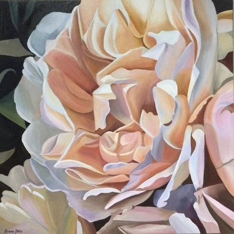 (CreativeWork) Creme de la Creme Rose by Rosanne Steele. Acrylic Paint. Shop online at Bluethumb.