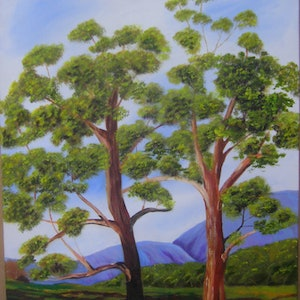 (CreativeWork) Blue Hills by Barbara Payne. arcylic-painting. Shop online at Bluethumb.