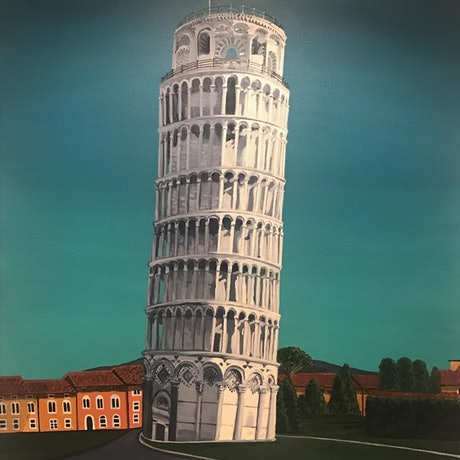 (CreativeWork) The Leaning Tower Of Pisa ~ Commissioned Artwork by Helen Pynta. Acrylic Paint. Shop online at Bluethumb.