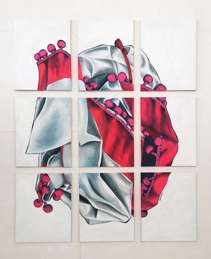 (CreativeWork) Heart of Cloth by Sophi Odling. arcylic-painting. Shop online at Bluethumb.
