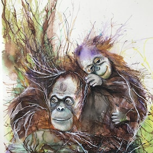 (CreativeWork) Orangutan Care by Betty Chan. other-media. Shop online at Bluethumb.