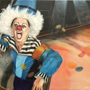 (CreativeWork) Clowning Around by Betty Chan. arcylic-painting. Shop online at Bluethumb.