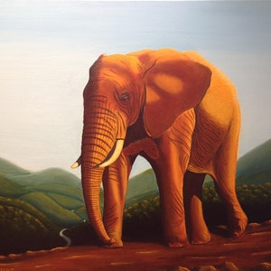 (CreativeWork) Trekking the Ridge Track by Trevor Brown. oil-painting. Shop online at Bluethumb.
