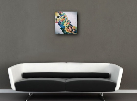 (CreativeWork)  COMPLICATED LOVE-RAINBOW ROSES  by HSIN LIN. Acrylic Paint. Shop online at Bluethumb.