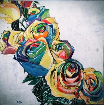 (CreativeWork)  COMPLICATED LOVE-RAINBOW ROSES  by HSIN LIN. Acrylic. Shop online at Bluethumb.
