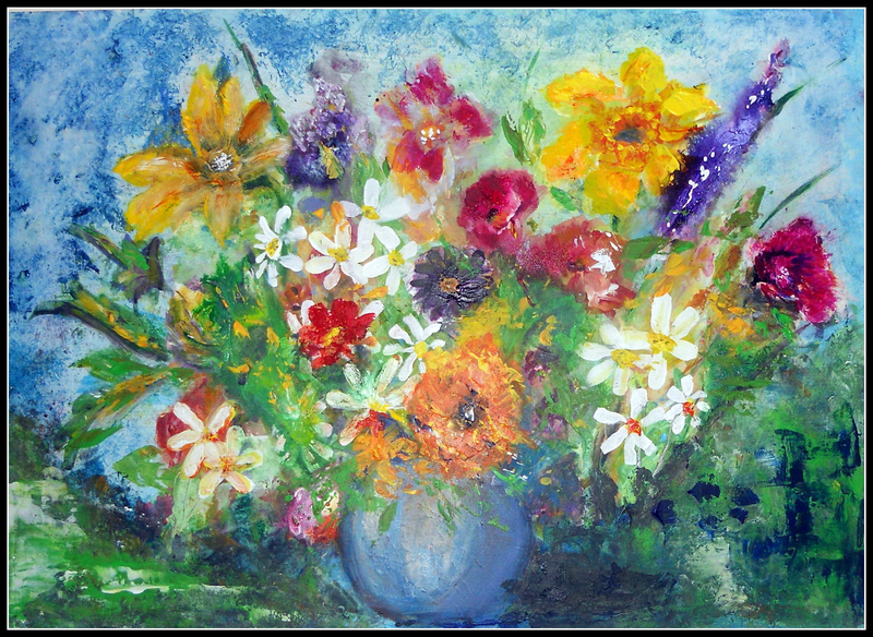 """(CreativeWork) """"Posies in a Blue Vase"""" by linda bartlett. arcylic-painting. Shop online at Bluethumb."""