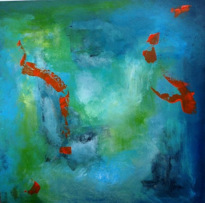 (CreativeWork) Abstract Goldfish by Daryl Clifford. Acrylic Paint. Shop online at Bluethumb.