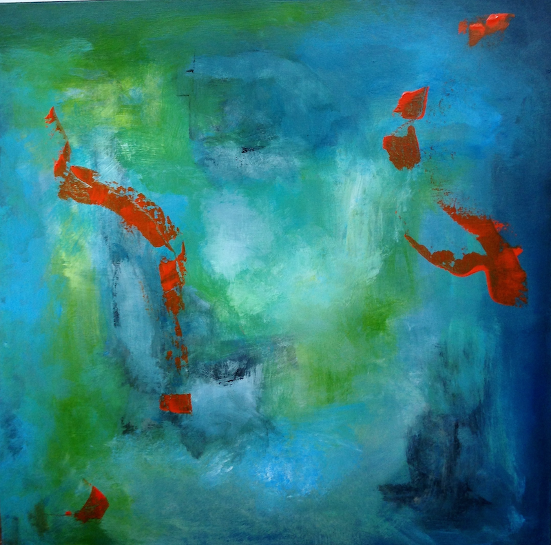 (CreativeWork) Abstract Goldfish by Daryl Clifford. arcylic-painting. Shop online at Bluethumb.