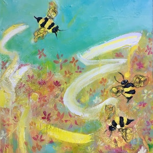 (CreativeWork) Bee Fun by Wendy Bache. arcylic-painting. Shop online at Bluethumb.
