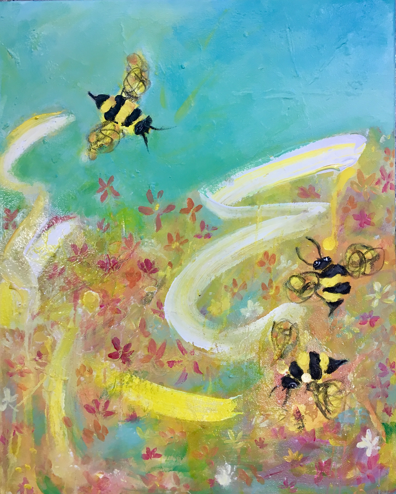 (CreativeWork) Bee Fun by Wendy Bache. Acrylic Paint. Shop online at Bluethumb.