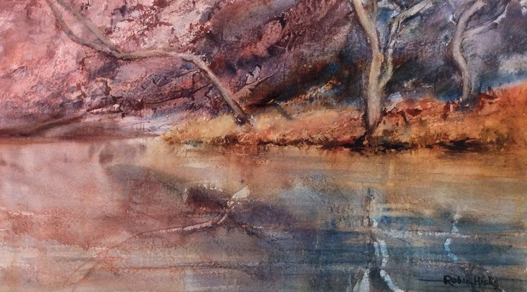 (CreativeWork) Ellery Creek Reflections  by Robin Hicks. Watercolour Paint. Shop online at Bluethumb.