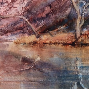 (CreativeWork) Ellery Creek Reflections  by Robin Hicks. watercolour. Shop online at Bluethumb.