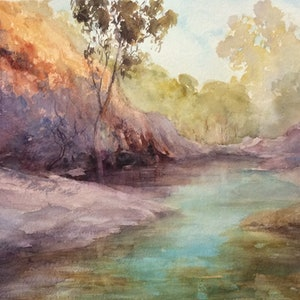 (CreativeWork) Arkaroola Light by Robin Hicks. watercolour. Shop online at Bluethumb.