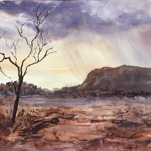 (CreativeWork) Twighlight storm near Simpson's Gap  by Robin Hicks. watercolour. Shop online at Bluethumb.