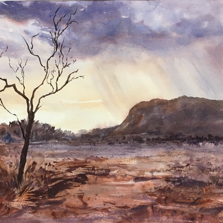 (CreativeWork) Twilight  Storm   by Robin Hicks. Watercolour Paint. Shop online at Bluethumb.