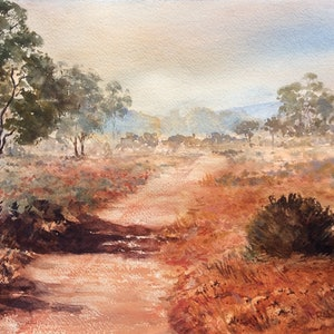 (CreativeWork) Near Lake Gairdner  by Robin Hicks. watercolour. Shop online at Bluethumb.