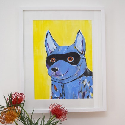 (CreativeWork) Bandit the cattle dog by Kara Cooper. arcylic-painting. Shop online at Bluethumb.