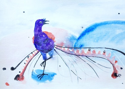 (CreativeWork) Lyrebird A4 Painting by Kara Cooper. arcylic-painting. Shop online at Bluethumb.