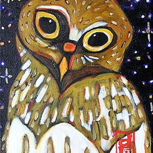 (CreativeWork) Barking Owl by Dale Leach. arcylic-painting. Shop online at Bluethumb.