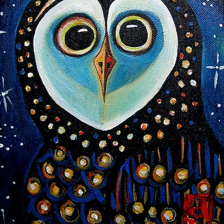 (CreativeWork) Sooty Owl by Dale Leach. Acrylic Paint. Shop online at Bluethumb.