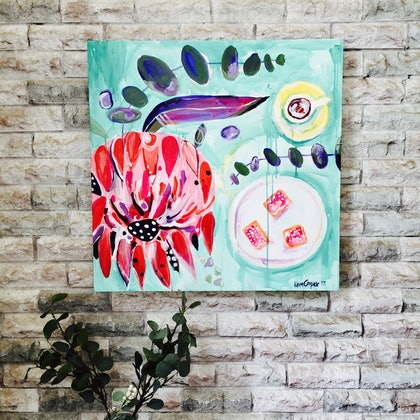 (CreativeWork) Waratah and Iced Vovos by Kara Cooper. arcylic-painting. Shop online at Bluethumb.