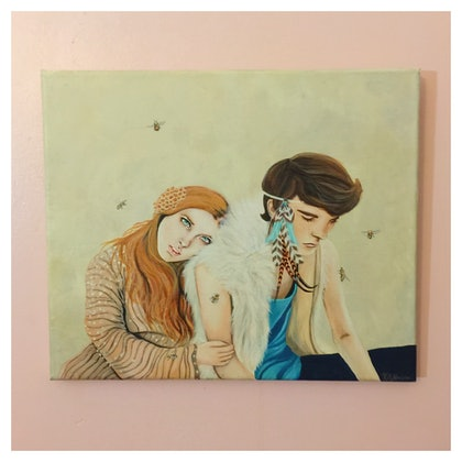 (CreativeWork) Honey and Hawk by Katie Nelson. arcylic-painting. Shop online at Bluethumb.