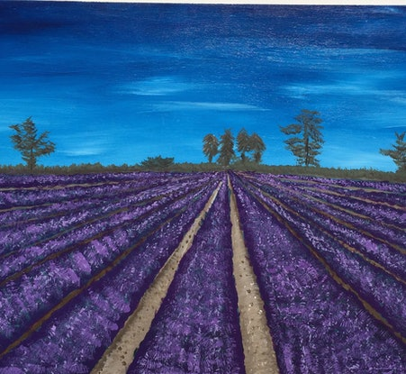 (CreativeWork) Lavendar Fields  by Stephanie Siomos. Acrylic Paint. Shop online at Bluethumb.