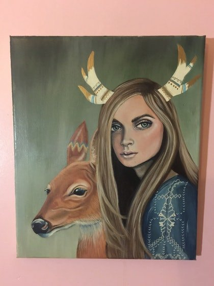 (CreativeWork) Nordic Wood by Katie Nelson. arcylic-painting. Shop online at Bluethumb.