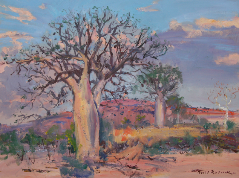 (CreativeWork) Boab Trees, Kimberley's, West Australia by David Badcock. oil-painting. Shop online at Bluethumb.