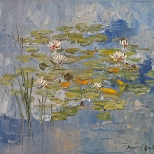 (CreativeWork) Water Lilies by David Badcock. oil-painting. Shop online at Bluethumb.