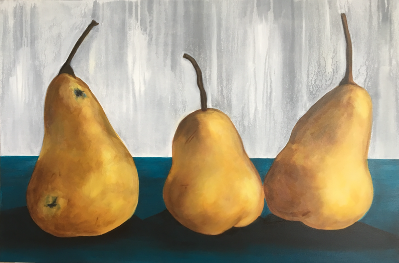 (CreativeWork) Golden Delicious by Sally Delorenzo. arcylic-painting. Shop online at Bluethumb.